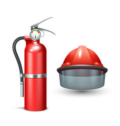 Firefighter helmet and extinguisher vector