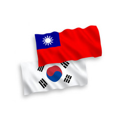 Flags south korea and taiwan on a white vector
