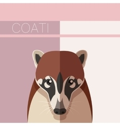 Flat postcard with Coati vector image