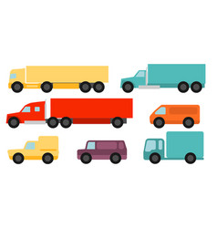 flat style commercial vehicles set vector image