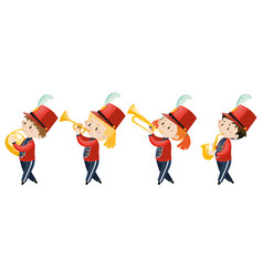 Four kids playing music in school band vector
