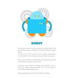 funny square robot in blue corpus with small panel vector image