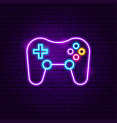 Game playing neon sign vector