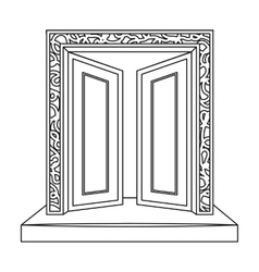 Gates to Valhalla icon in outline style isolated vector