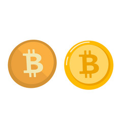golden bitcoin coin symbol - cartoon vector image