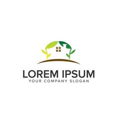 green house logo design concept template vector image