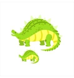 Green Stegosaurus Dinosaur Prehistoric Monster vector image