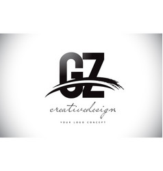 Gz g y letter logo design with swoosh and black vector