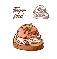 Hand drawn finger food element appetizers served vector