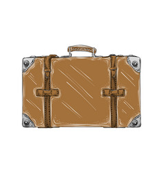 hand drawn sketch retro suitcase in brown color vector image