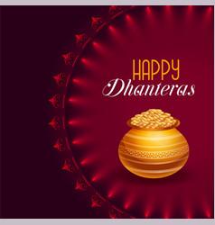 Happy dhanteras festival card with golden pot vector