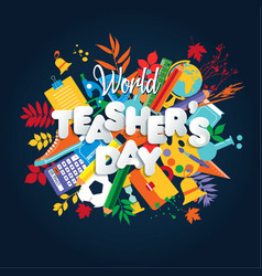 happy teacher s day poster concept world vector image