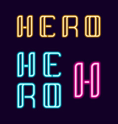 Hero neon font 80s text letter glow light retro vector