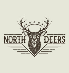Horned north deer vector