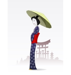 Japanese woman in traditional kimono vector
