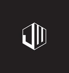 Jw logo monogram hexagon with black background vector