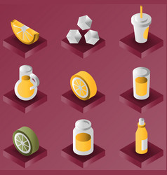 lemonade color gradient isometric set vector image