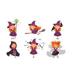 little witch cartoon character collection lovely vector image