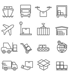 Logistics cargo and shipping line icons vector