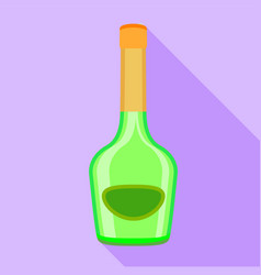 Long neck green bottle icon flat style vector
