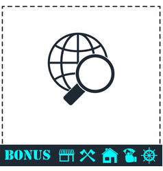 magnify globe icon flat vector image