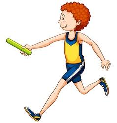 Man athlete running relay vector image