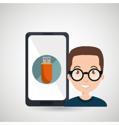 Man smartphone usb symbol vector