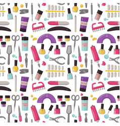 Manicure instruments seamless pattern background vector