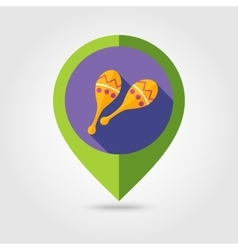 Maracas flat mapping pin icon with long shadow vector image