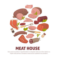 meat house poster of meat and sausages vector image