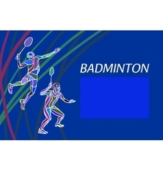 Mens doubles badminton players Color vector