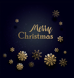 merry christmas realistic snowflakes on a greeting vector image