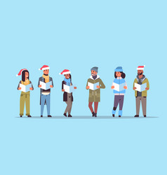 mix race people reading books merry christmas vector image