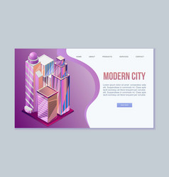 modern city isometric view with architecture of vector image