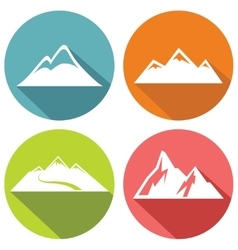 Mountain flat icons with long shadow vector