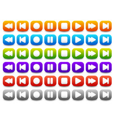 Multimedia audio - video player control buttons vector