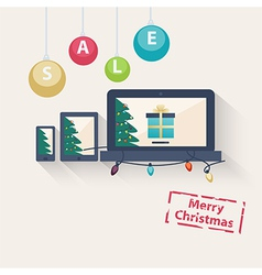 New year or Christmas online sale concept vector