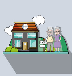 old couple together next their house vector image