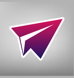 Paper airplane sign purple gradient icon vector