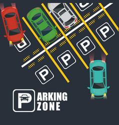 parking zone air view scene vector image