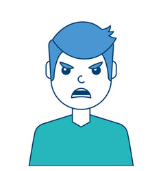 portrait man face angry expression cartoon vector image