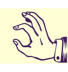 Retro hand holding thing between thumb and index vector