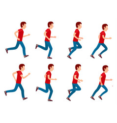 running man animation sprite set 8 frame loop vector image