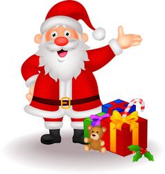 Santa cartoon with gifts vector