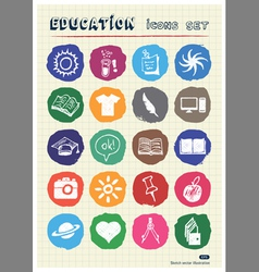 School and education web icons set drawn by chalk vector