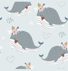 seamless pattern with cartoon creative whales vector image