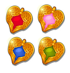 set of gold pendants in the shape of a heart with vector image