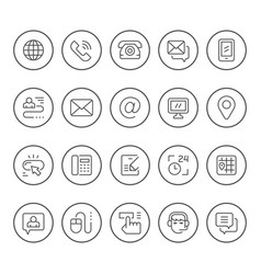 Set round line icons of contact us vector