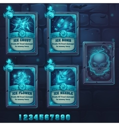 Set spell cards of ice school vector