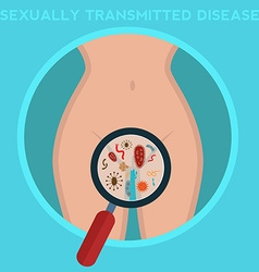 Sexually-transmitted diseases woman body infected vector